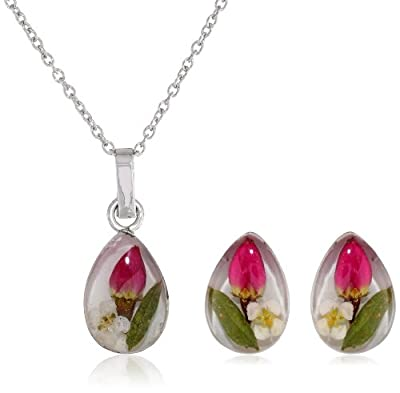 Pressed Flower Earrings and Matching Necklace Set