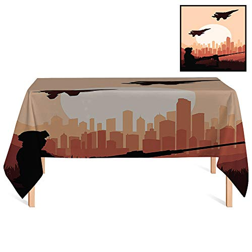 SATVSHOP Premium Fitted Tablecloth /24x24 Square,War Home Soldier Shadow with Weapon Warplanes and Skyscraper Epic Landscape at Sunrise Orange.for Wedding/Banquet/Restaurant.