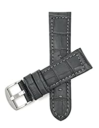 Bandini 20mm Grey Leather Watch Band Strap, Alligator Pattern, Large Stainless Steel Buckle