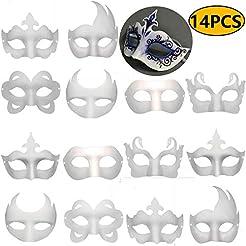 Timeek 14 PCS DIY White Masks Paper Half...