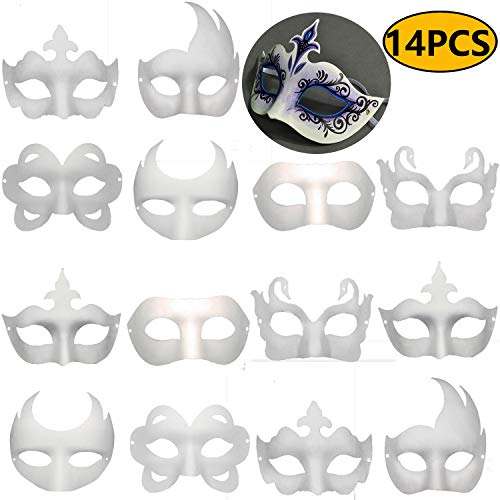 Masquerade Face Mask (Timeek 14 PCS DIY White Masks Paper Half Face Masquerade Masks Craft Mardi Gras Mask Plain Mask Paintable Blank Halloween)