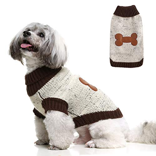BINGPET Turtleneck Dog Sweater Brown Bone Pattern, Puppy Winter Warm Cloth for Small Medium Large Dogs