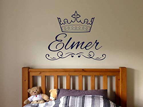 Vinyl Sticker Elmer Name Boy Crown Prince King Font Type Kids Room Nursery Mural Decal Wall Art Decor EH1024