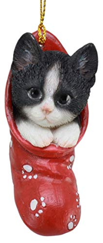 Ebros Realistic Black And White Tuxedo Cat Kitten In The Sock Small Hanging Ornament Figurine With Glass Eyes Adorable Holiday Festive Season Decor Sculpture For Christmas Trees Animal Pet Collectible