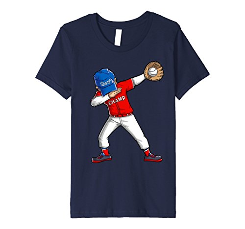 [Kids Baseball Dabbing T Shirt Funny Dab Dance Shirts Boys Girls 8 Navy] (Baseball Catcher Halloween Costume)
