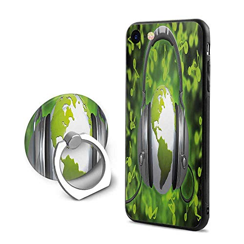 World iPhone 6 Plus/iPhone 6s Plus Cases,World of Music Themed Composition DJ Headphones Musical Notes and Earth Globe Lime Green Grey,Mobile Phone Shell Ring Bracket