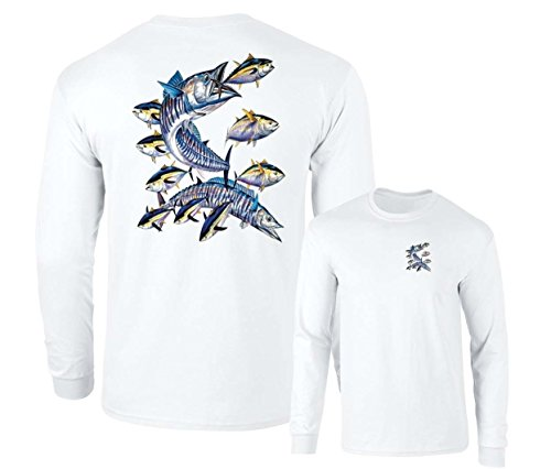 - Wahoo Fish Albacore Yellowfin Tuna Fishing Long Sleeve T-Shirt, White, XL