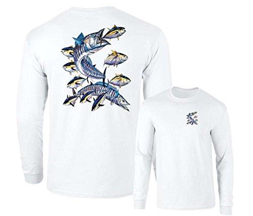 Lucky Ride Wahoo Fish Albacore Yellowfin Tuna Fishing Long Sleeve T-Shirt, White, XXL
