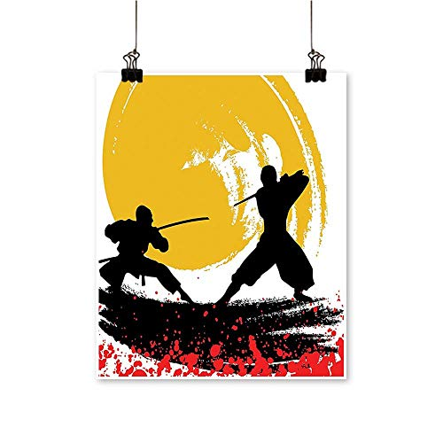 (Single Painting Style Silhouette Warrior N jas Mo Light Medieval Battle Red Black Office Decorations,12