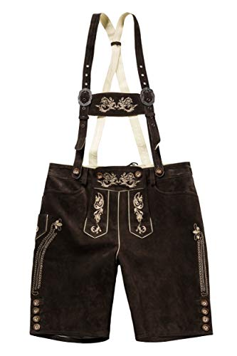 JP 1880 Men's Big & Tall Authentic Real Leather Lederhosen Brown 56 705528 30 ()