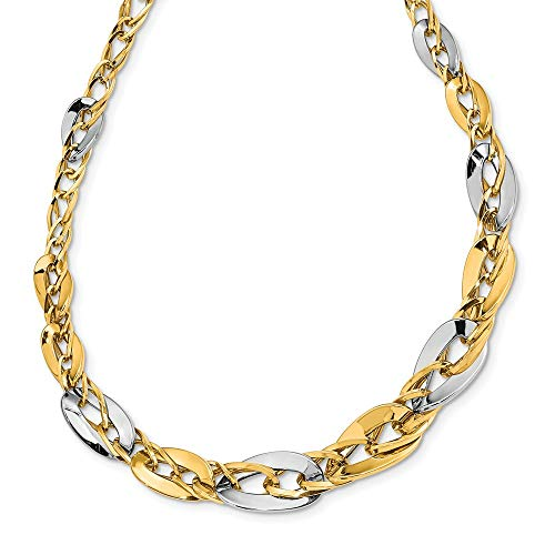 Graduated Curb Link (14K Gold & Two Tone Silver Plated Polished Fancy Double Curb Link Graduated Necklace Size 17)