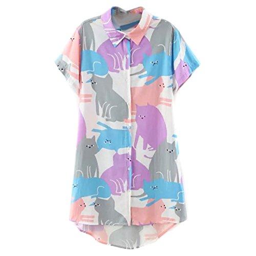 rtoon Cat Print Short Sleeve Longline Shirt Plus Size (S-XXL) ()
