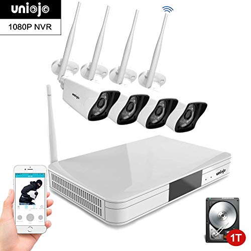 Wireless Security Camera System Outdoor, UNIOJO 2.0MP 1080P Waterproof IP66 Indoor Outdoor Home Surveillance IP Camera with 8CH CCTV NVR Recorder (1T Hard Drive), Night Vision, Motion Detection