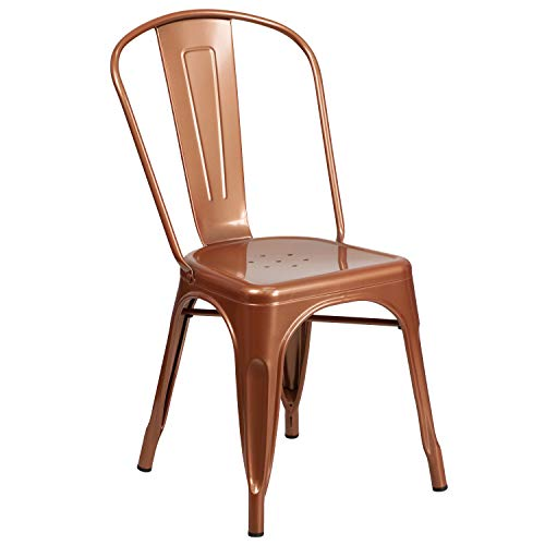 - Flash Furniture Copper Metal Indoor-Outdoor Stackable Chair