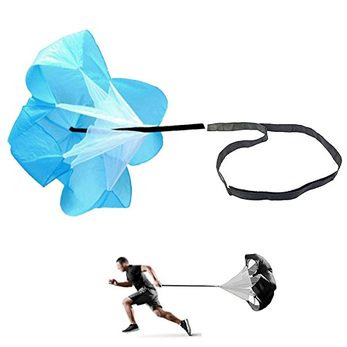 JEELAD Speed Training Resistance Parachute Running Chute Power for Football Overspeed Training (Blue, 56 Inch)