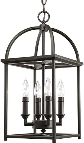 Progress Lighting Piedmont Collection Four-Light Cage Entry Light, Antique Bronze