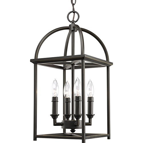 - Progress Lighting P3884-20 Foyer Lantern, 13-3/8-Inch Width x 20-3/8-Inch Height, Antique Bronze