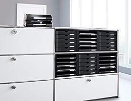 HAN 1401-11 - Cajonera organizadora con 5 cajones abiertos para C4 y PS, 275 x 320 x 330 mm, color gris