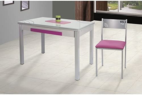 SHIITO Mesa de Cocina Extensible 110x70 cm con Dos alas y Tapa de ...