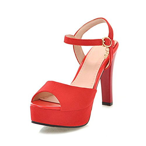 Sandals Summer Front and Rear Belts Waterproof Platform Fish Mouth Super High Heels Thick Heel Women's Shoes Red eRxkb