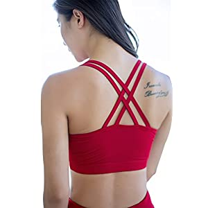 Women's Red Strappy Crisscross Back Comfort Active Support Yoga Gym Sports Bra Tops (L, Red)