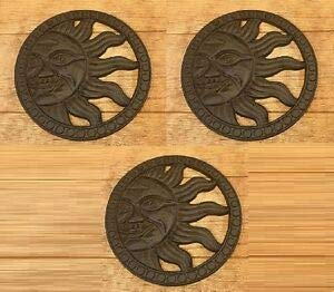 - LuxMart Cast Iron Sun Face Stepping Stone Wall Plaque 12