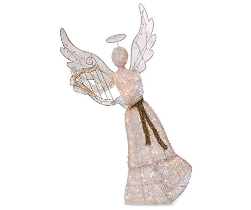 69'' Gold White Angel With Harp Sculpture Outdoor Christmas Yard Lawn Decoration Seasonal Display