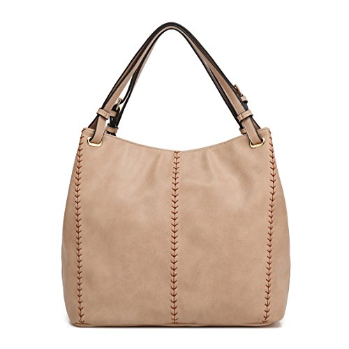 KISS GOLD(TM) Womens Top Handle Bags Hobo Shoulder Bags Shopping Handbags, European Style (Light Khaki)