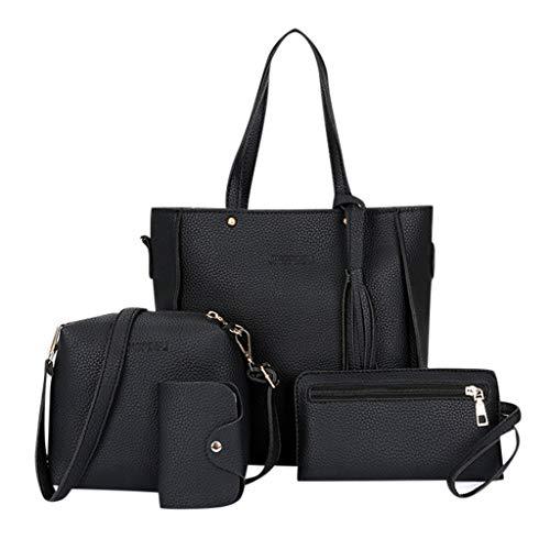 Vielgluck_Bag Messenger Bag Purse Set for Women, Real Leather Zipper Handbag Muti-fuction Tote Bag Purse Crossbody Bag Card Bag Set (4Pcs)