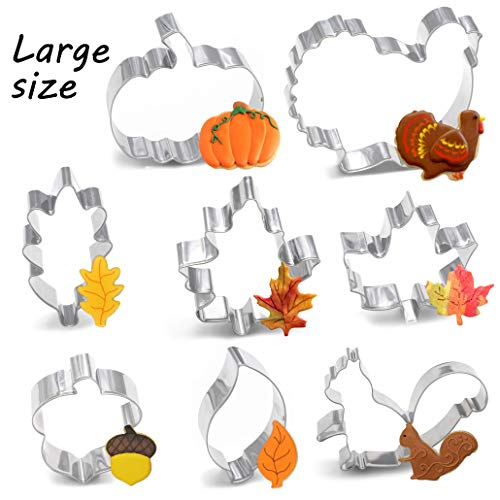 8PCS Large Fall Thanksgiving Cookie Cutter Set  Turkey Pumpkin Maple/Oak/Teardrop Leaf Squirrel and Acorn