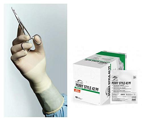 Ansell Encore Perry Style 42 Powder Free Surgical Gloves, Latex, Beaded, Size 7 5711103PF