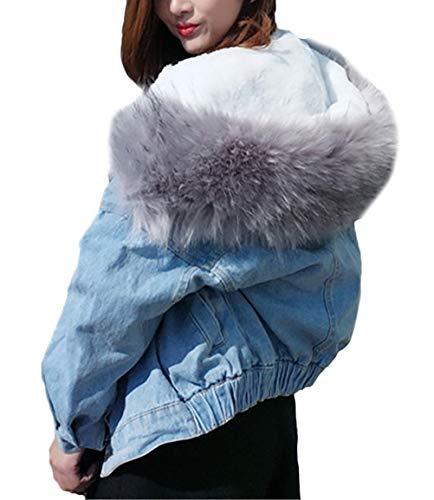 Eleganti Outdoor Cappotto Calda Fashion Outwear Blue Giacche In Manica Lunga Libero Chic Sciolto Donna Tempo Denim Cappuccio Jeans Vintage Addensare Con 2 Pelliccia wPqC6U