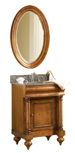 - Kaco international 725-2400-P-AB Guild Hall 24-Inch Vanity in Distressed Pecan Sherwin Williams Finish and Black Granite Top
