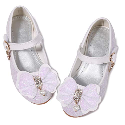 Walofou Mary Jane Shoes for Girls Size 11 Wedding Princess White Dress Shoes 5 Yr Bridesmaid Kids Party Flower Low High Heel Glitter Shoes for Little Girls Cosplay Sequins ( 03White 29