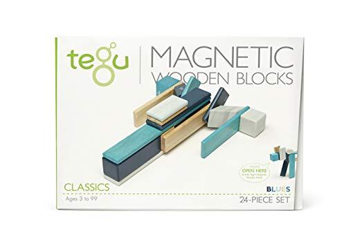 - 24 PieceTegu Magnetic Wooden Block Set, Blues