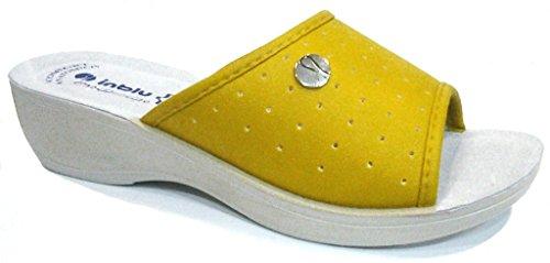 INBLU - Zapatillas de estar por casa de piel sintética para mujer amarillo amarillo 40