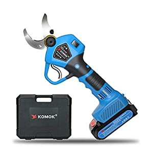 KOMOK Professional Cordless Electric Pruning Shears with Screen, 2PCS Backup Rechargeable 2Ah Lithium Battery Powered…
