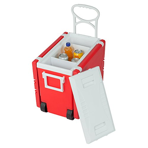 Foldable Beverage Cooler Table, Rolling Cooler Picnic Table Multi Function for Picnic Fishing Portable Storage Food Beverage Beer Included Foldable Table W/Two Chairs Camping Trip Cooler (Red) ()