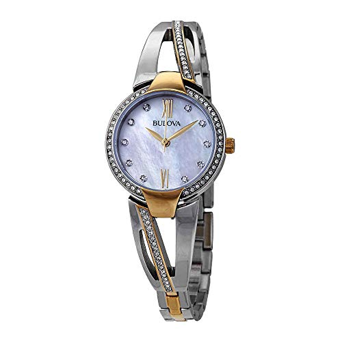 Bulova Crystal Mother of Pearl Dial Ladies Bangle Watch 98L227