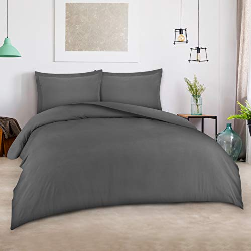 Utopia Bedding 3pc Duvet Cover Set with 2 Pillow Shams, (Queen Grey) (Duvet Covet)
