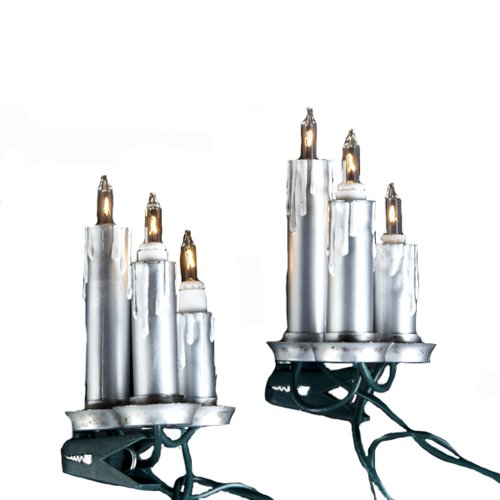 picture of Kurt Adler UL 15-Light Silver Triple Candle Light Set