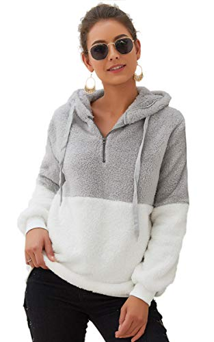Angashion Womens Sweatshirt - Long Sleeve 1/4 Zip Up Faux Fleece Pullover Hoodies Coat Tops Outwear with Pocket 174 Light Grey XL