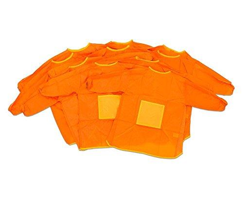 Betzold 58113 - Kinder-Malkittel-Set 10 Stück wasserabweisend orange - Kittelschürze Malschürze Bastelschürze Malerkittel