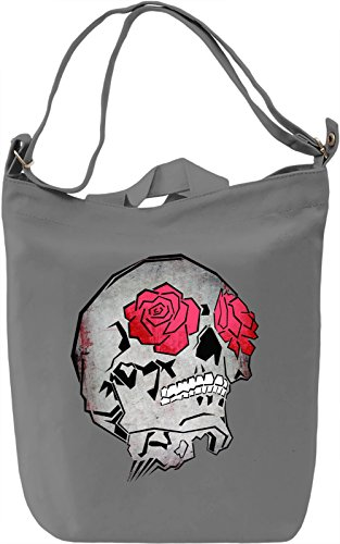 Skull And Roses Borsa Giornaliera Canvas Canvas Day Bag  100% Premium Cotton Canvas  DTG Printing 