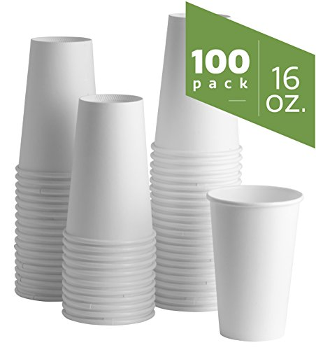 16 oz. White Paper Hot Cups [100 Pack] - Coffee Hot Beverage