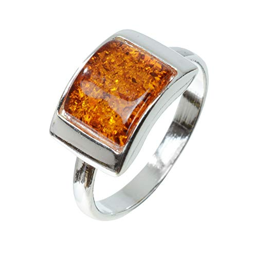HolidayGiftShops Sterling Silver and Baltic Honey Amber Ring Sunniva Size: 7.5