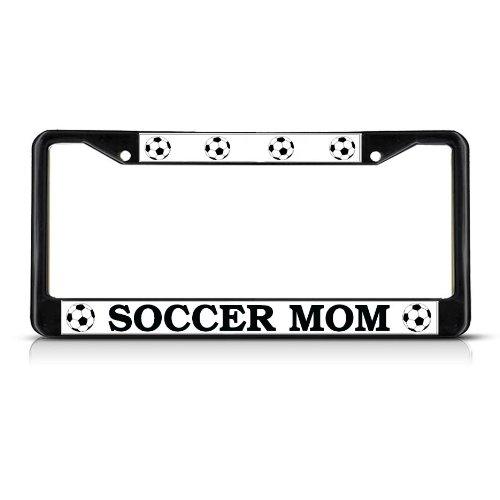 SOCCER MOM Black Heavy Duty Metal License Plate Frame