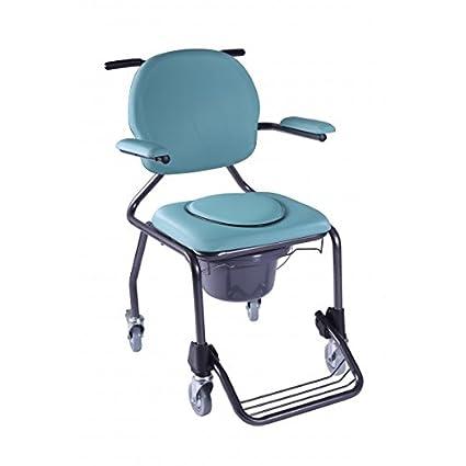 Silla de ducha de acero con inodoro | con reposapiés y reposabrazos acolchados | Peso máx. usuario: 130 kg