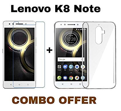 save off ea258 9fdfd MGRJ® Transparent Back Cover and Tempered Glass for Lenovo K8 Note (Combo  Pack)