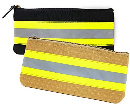 Firefighter Pencil Holder Case Original Turnout Bunker Fabric Gear (Black & Yellow)